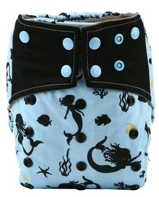 Mermaid Life Bamboo Charcoal Cloth Diaper Nappy Reusable Double Gussets AI2