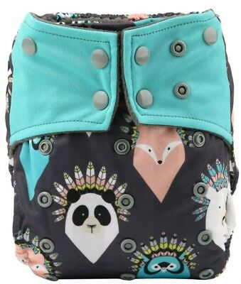 Feather Animals Bamboo Charcoal Cloth Diaper Nappy Reusable Double Gussets AI2