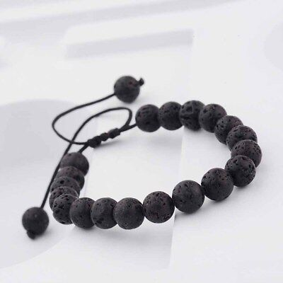 Unisex Gift Lucky Adjustable Beaded Rock Bracelet Natural Lava Yoga Bangle