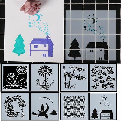 8pcs Hollow Layering Stencils For Wall Paint Scrapbooking Paper Card Template--