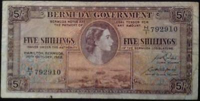 Bermuda 5 Shillings 20th October 1952 Queen Elizabeth II Scarce