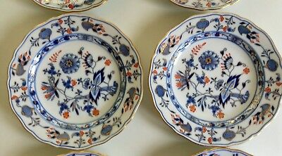 Meissen Set of 6 Salad Plates Blue Onion Red Gold
