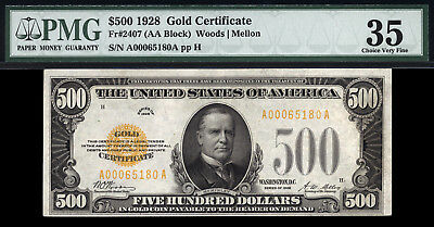 $500 1928 Gold Certificate FR 2407 PMG 35  RARE SMALL SIZE GOLD CERTIFICATE