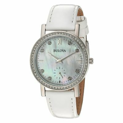 Bulova 96l245 Crystal Collection Mother of Pearl Dial White Leather Womens Watch