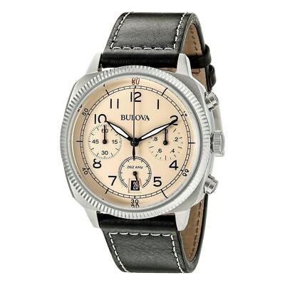 Bulova 96B231 UHF Military Collection Beige Dial Chronograph Men's Leather Watch