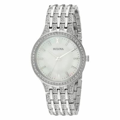 Bulova 96L242 Crystal Collection Stainless Mother of Pearl Dial Women's Watch