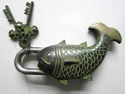 China old bronze Available door lock fengshui lucky goldfish shape 2 keys
