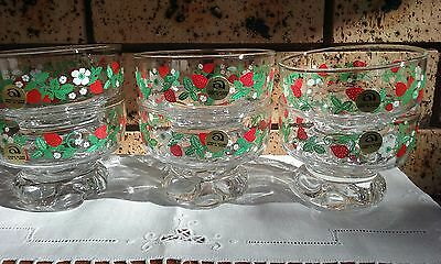 6 x Vintage Aderia Glass Footed Dessert Bowls Compote Strawberries Japan