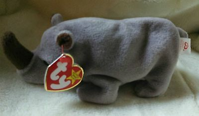 TY Beanie Baby ~ SPIKE Rhinoceros ~ NEW with Tags Retired with PE Pellets