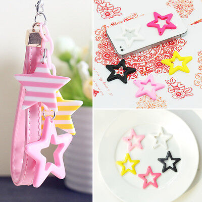 1/10pcs DIY Hollow Out Star Shaped Cell Phone Case Keyrings Crafts Art Decor New