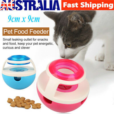 Pet Cat Dog Food Feeder Ball Treat Dispenser Training Interactive shaking Toy AU