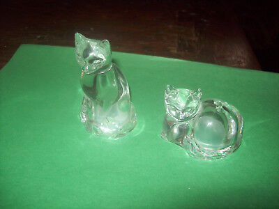 Clear Glass Cats Figures - Salt & Peppers Shakers