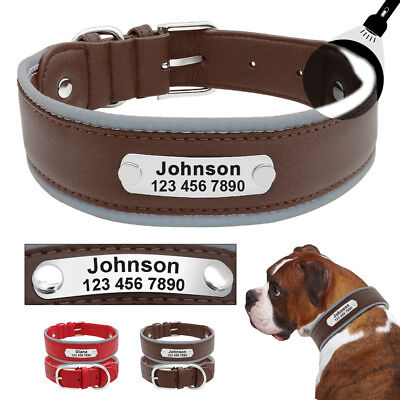 Soft Leather Dog Collar Personalized Adjustable Pet Neck Protective Name Plate
