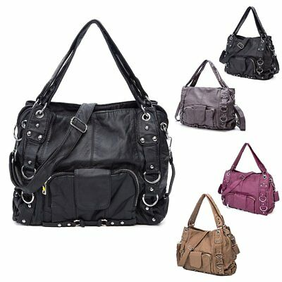 Women's PU Leather Handbag Large Ladies Shoulder Satchel Crossbody Messenger Bag