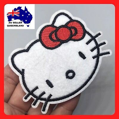 HELLO KITTY PATCH, Iron On Patch, Motif, Appliqué, DIY, Sew On, Embroidered New