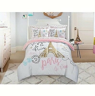 girls bedding set kids comforter sets twin full teen paris theme reversible bed picclick. Black Bedroom Furniture Sets. Home Design Ideas