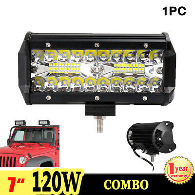"1X 7"" inch 120W Cree Led Work Light Bar Flood Spot Driving Lamp Offroad 4WD SUV"