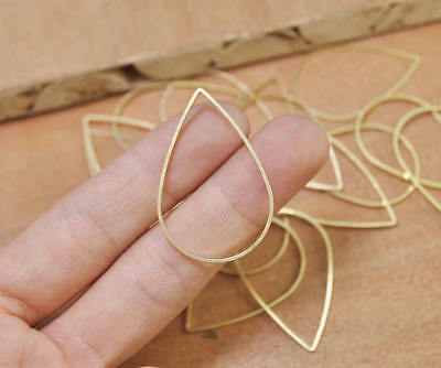 40pcs Raw Brass Teardrop Pendant Charms Flat Oval Connector Jump Rings