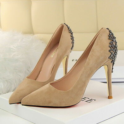 Women Classic Pumps Sexy Stiletto Faux Suede Pointed Toe High Heel Wedding Shoes