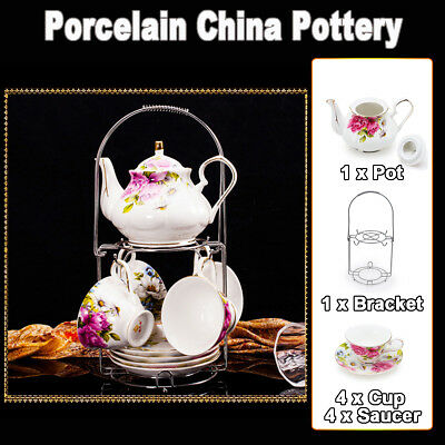 10Pcs 3 Style Bloom Porcelain China Pottery English Tea Pot Cup Saucer Stand Set