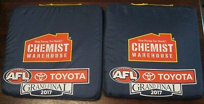 2 x 2017 AFL Grand Final Seat Cushions Richmond Tigers vs Adelaide Crows