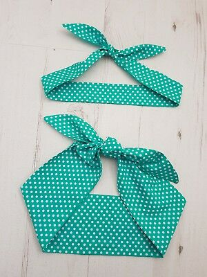 Matching Mum & Baby Rockabilly Head Scarf - Teal Green Polka Dot - Cotton Gift