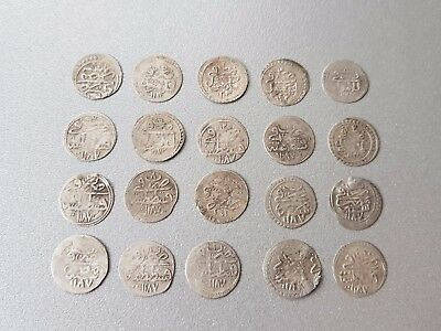 LOT of 20 pcs. SILVER OTTOMAN TURKISH TURKEY ISLAMIC AKCE COINS - RARE!