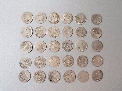 LOT of 30 pcs. SILVER OTTOMAN TURKISH TURKEY ISLAMIC AKCE COINS - RARE!