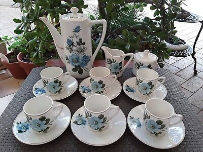 Vintage 1960's Ceramic Tea/Coffee Set Blue Floral Japan BNIB