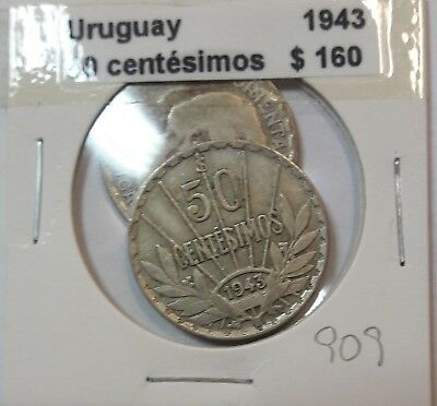 Uruguay 50 Centesimos 1943  KM #31 -  LOT OF 2 CIRCULATED SILVER COIN  #909