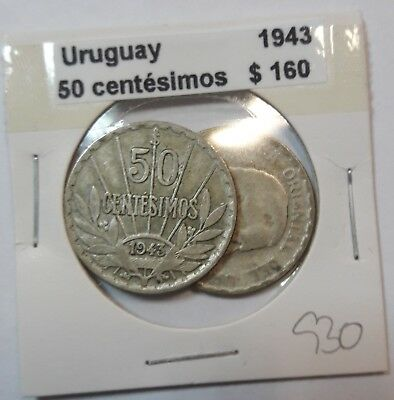 Uruguay 50 Centesimos 1943  KM #31 -  LOT OF 2 CIRCULATED SILVER COIN  #930