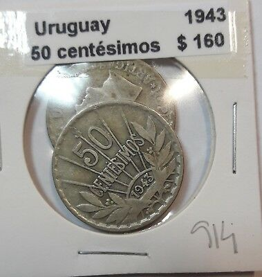 Uruguay 50 Centesimos 1943  KM #31 -  LOT OF 2 CIRCULATED SILVER COIN  #914