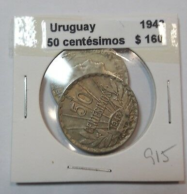 Uruguay 50 Centesimos 1943  KM #31 -  LOT OF 2 CIRCULATED SILVER COIN  #915