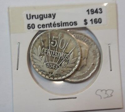 Uruguay 50 Centesimos 1943  KM #31 -  LOT OF 2 CIRCULATED SILVER COIN  #933