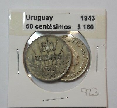 Uruguay 50 Centesimos 1943  KM #31 -  LOT OF 2 CIRCULATED SILVER COIN  #923