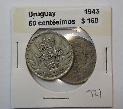 Uruguay 50 Centesimos 1943  KM #31 -  LOT OF 2 CIRCULATED SILVER COIN  #921