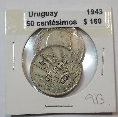 Uruguay 50 Centesimos 1943  KM #31 -  LOT OF 2 CIRCULATED SILVER COIN  #913
