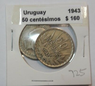 Uruguay 50 Centesimos 1943  KM #31 -  LOT OF 2 CIRCULATED SILVER COIN  #925