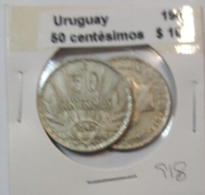 Uruguay 50 Centesimos 1943  KM #31 -  LOT OF 2 CIRCULATED SILVER COIN  #918