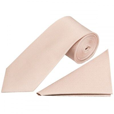 Plain Blush Textured Silk Classic Men's Tie and Pocket Square Set Wedding Tie