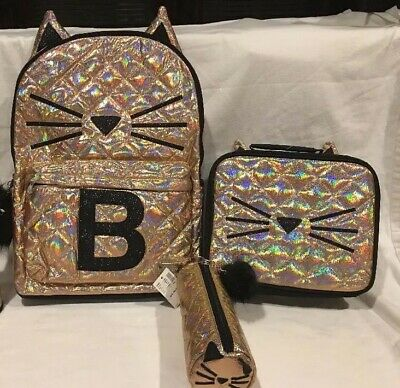 NWT JUSTICE Gold Cat Quilted Style-Letter B  Backpack, Back To School Bundle!!!!