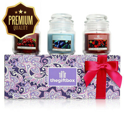 Luxurious Scented Candle Gift Set by The Box, Containing Three Fruity...