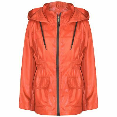Kids Girls Boys Raincoat Jackets Orange Lightweight Hooded Cagoule Rain Mac 5-13