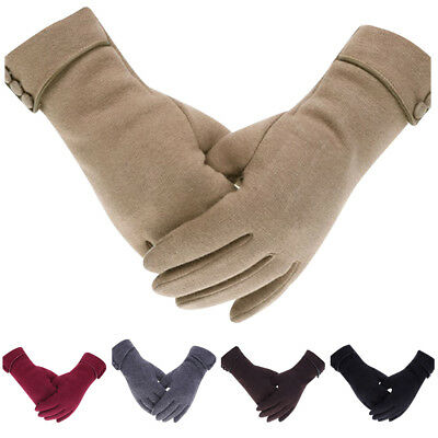 1 Pair Women Winter Warm Gloves Touch Screen Phone Windproof Lined Thick Mittens