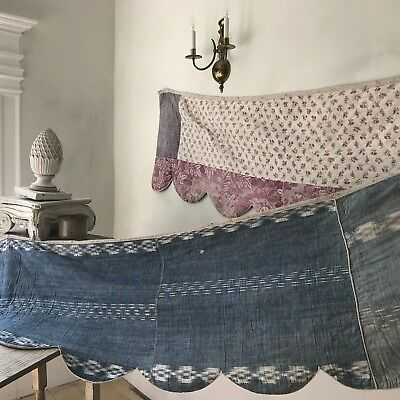 Antique ikat quilted Valance textile pieced backing toile and printed French