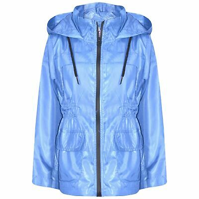 Kids Girls Boys Raincoat Jacket Sky Blue Lightweight Hooded Cagoule Rainmac 5-13