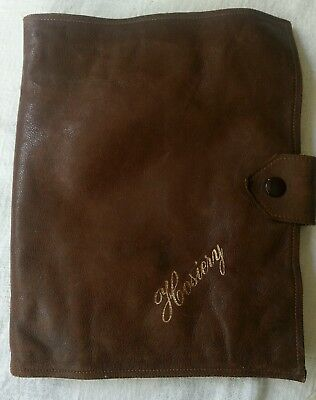 Antique Leather stocking wallet with 1920s Silk stockings