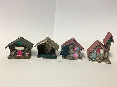 Four Vintage Putz Houses Church Cathedral Cardboard Glitter Japan