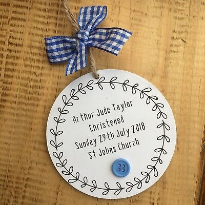 Christening Gifts New Baby Keepsake Plaque Present Handmade Sign Personalised