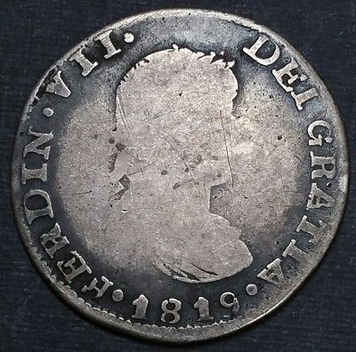 1819 Z AG 2 Reale Mexico Milled Bust Cob King Ferdinand VII World Silver Coin
